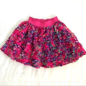 1989 Place 3 Pink Dimensional Fluffy Frilly Layered Floral Skirt Size Small